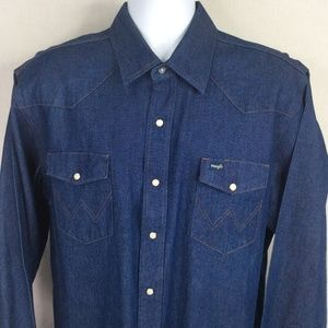 Wrangler Pearl Snap Blue Denim Western Shirt XL